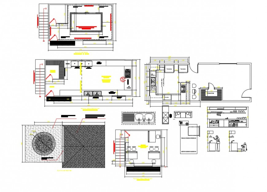 Kitchen Restaurant interior plan autocad file