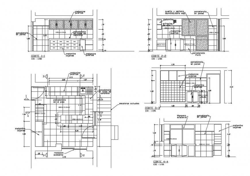 Kitchen section and furniture layout cad drawing details dwg file