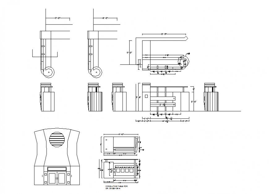 Kitchen section and interior and furniture cad drawing details dwg file
