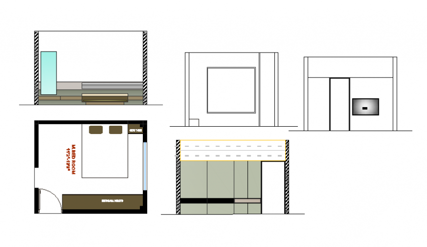 Kitchen section and interior details cad drawing dwg file