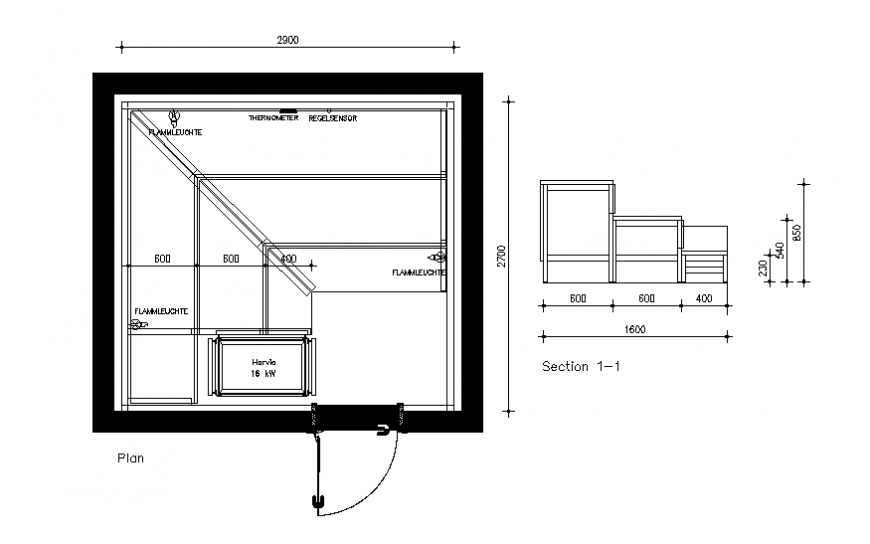 Kitchen section and plan details dwg file