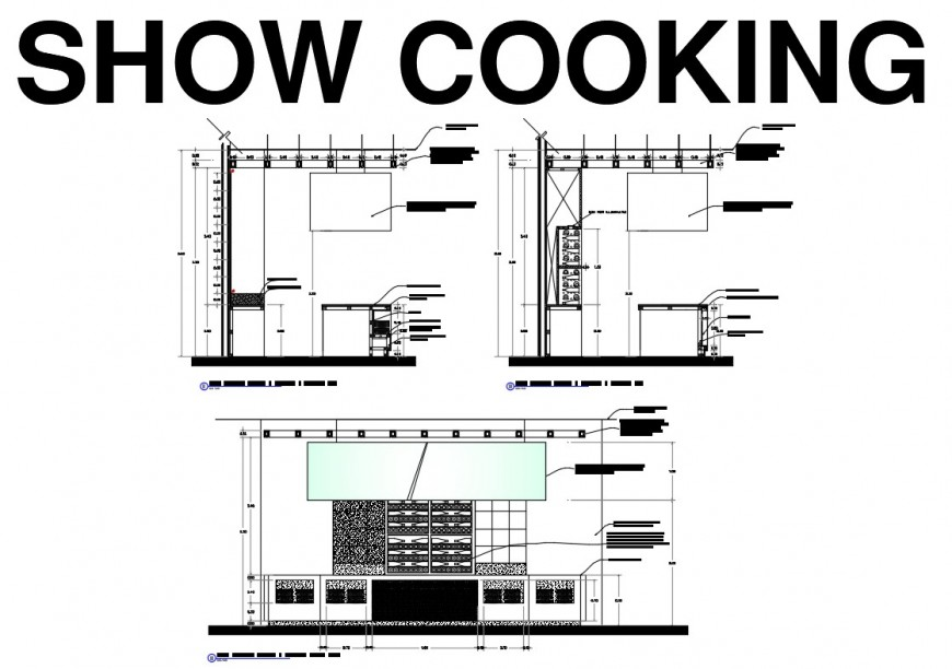 Kitchen section with furniture layout and interior details dwg file