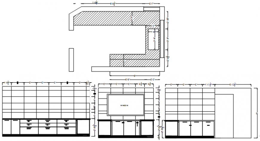 Kitchen sectional elevation detail file with plan