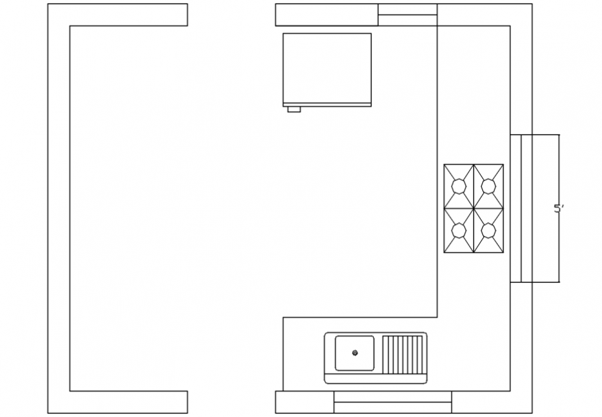 Kitchen sectional elevation detail top view model design