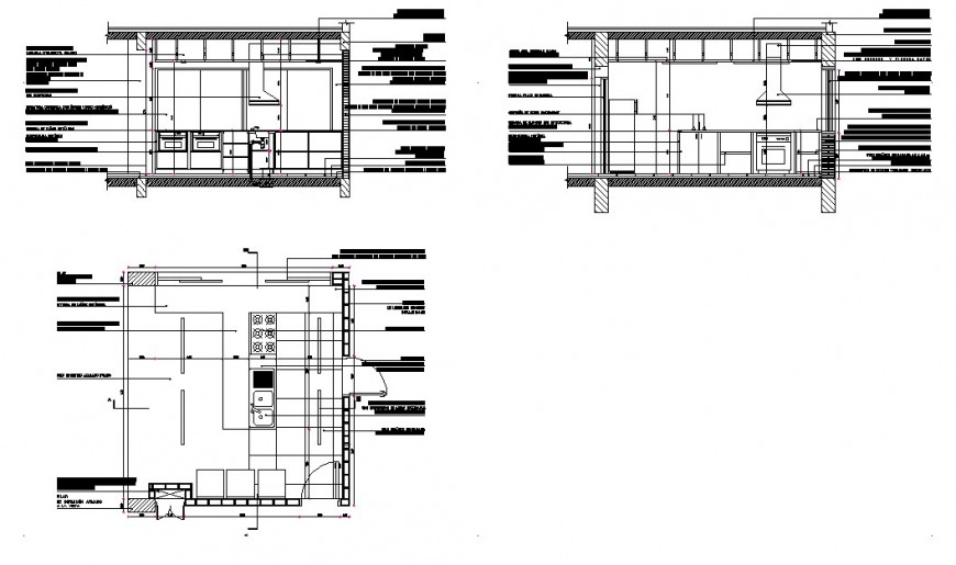 Kitchen sectional elevation model