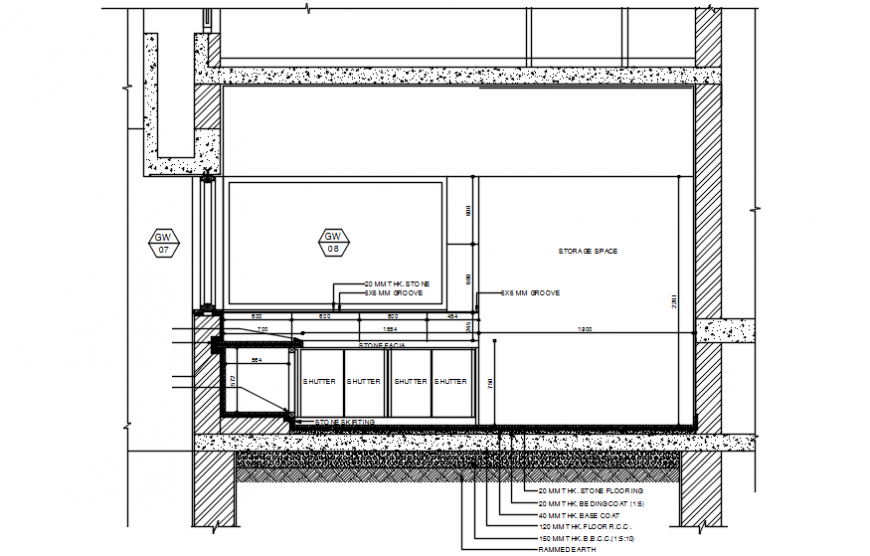 Kitchen side constructive section cad drawing details dwg file