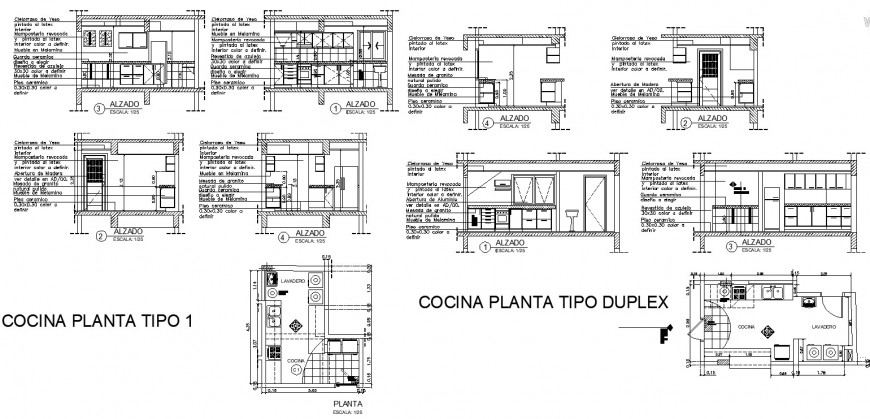 Kitchen structural detail plan and section 2d view layout file in dwg format
