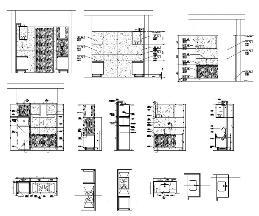 Kitchen structure detail section 2d view layout autocad file
