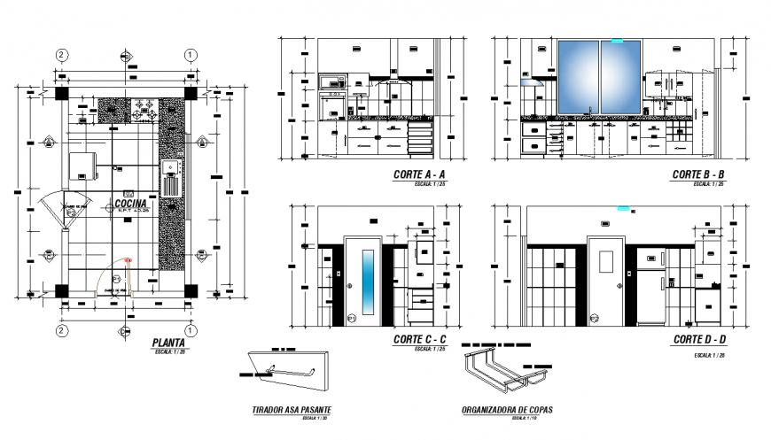 Kitchen structure interior 2d view layout autocad file