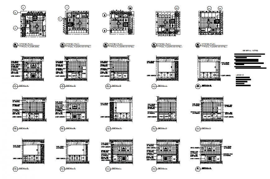 Kitchen typical floor sectional and interior details dwg file