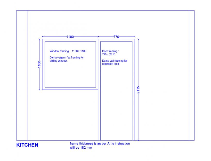 kitchen window and door framing details in dwg format