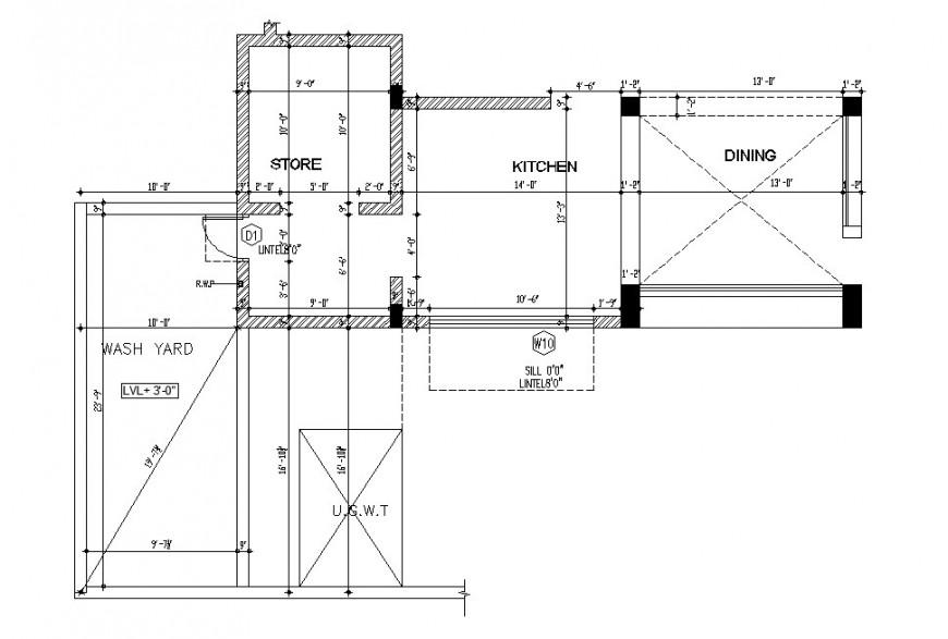 Kitchen with store and laundry top view layout plan drawing details dwg file