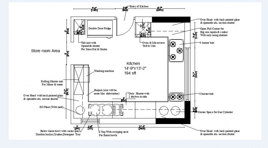 Kitchen with store room layout plan and structure details dwg file