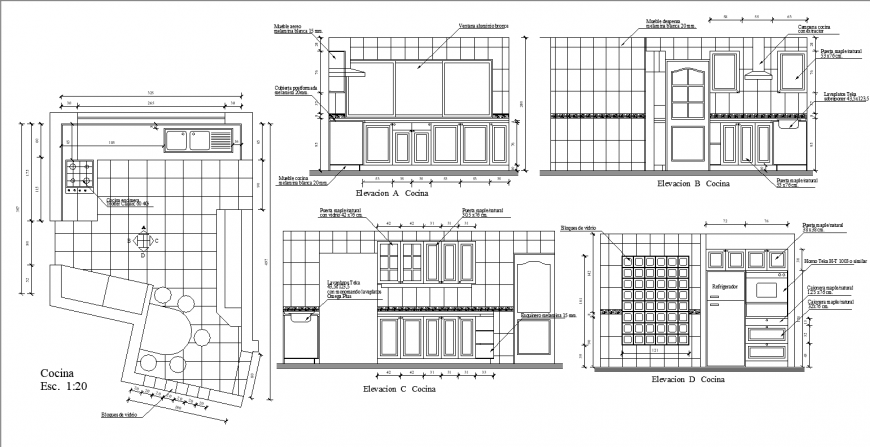 Kitchen working detail drawing in dwg file.