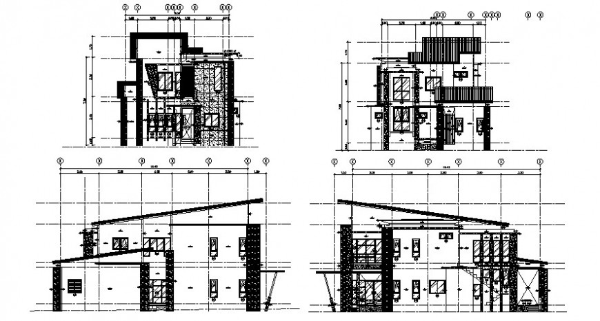 Koris house front and back elevation and section drawing details dwg file