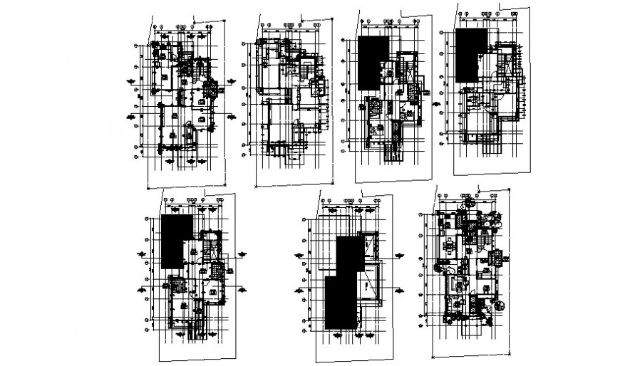Koris residential house floor plan distribution and structure drawing details dwg file
