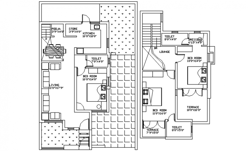 Krishna bungalow floor plan distribution cad drawing details dwg file