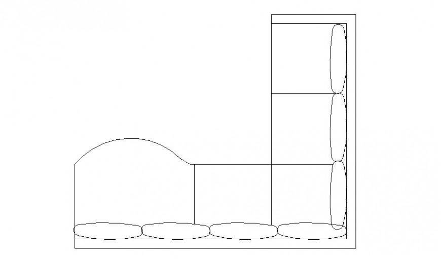 L shape big sofa set block top view elevation cad drawing details dwg file