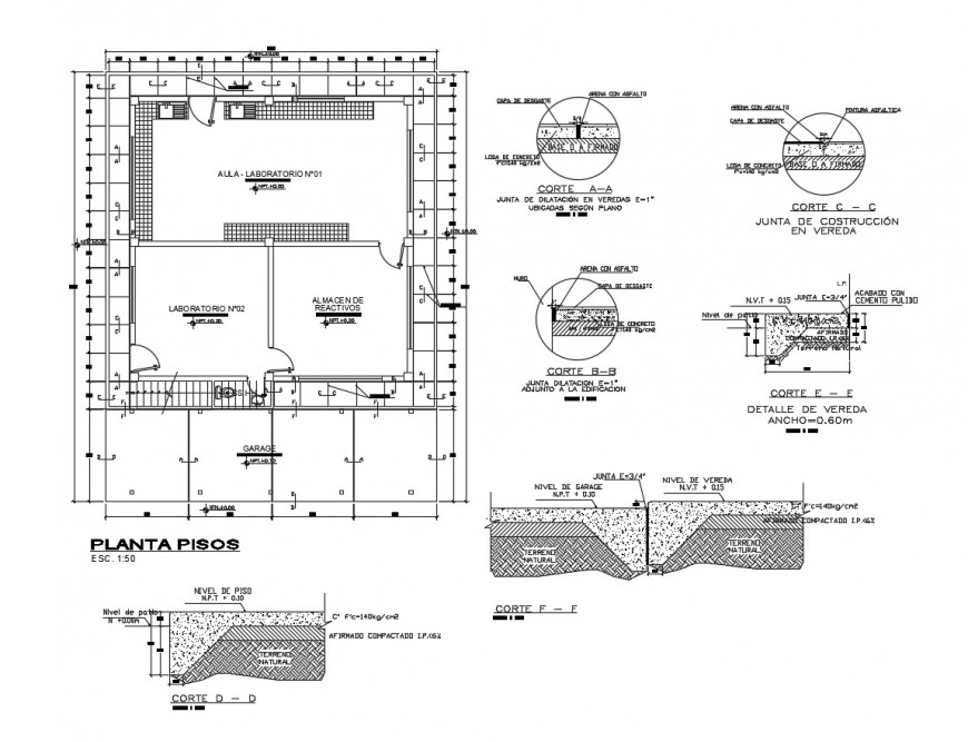 Laboratory and classroom plan and auto-cad drawing details dwg file