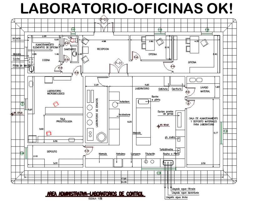 Laboratory office plan drawing in dwg file.