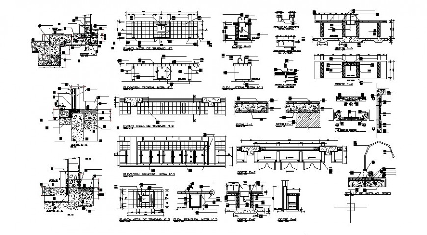 Laboratory tables elevation, section, plan and carpentry details dwg file