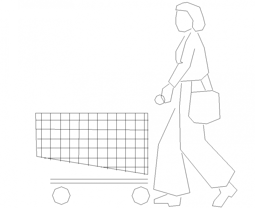 Lady at shopping center with detailing dwg file.