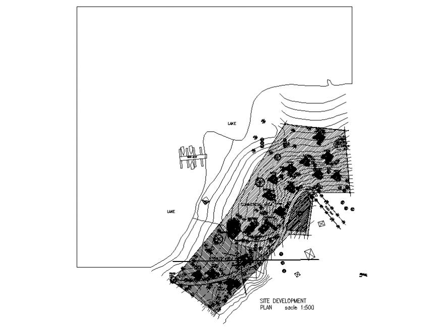 Lake resort site development plan cad drawing details dwg file