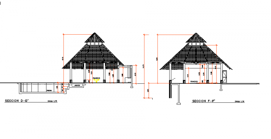 Lake side gazebo type restaurant front and back section cad drawing details dwg file