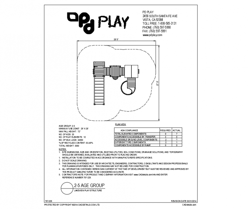 Lake view play equipment plan details dwg file