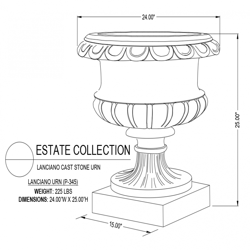 Lamina no cast iron urn with designer cup shaped isometric view dwg file