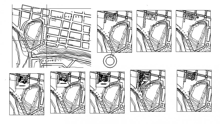 Landscape and contour details of area 2d drawing in autocad