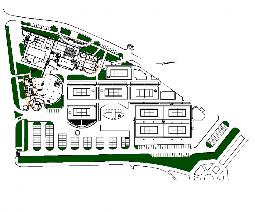 Landscape design of hotel area with architecture detail dwg file