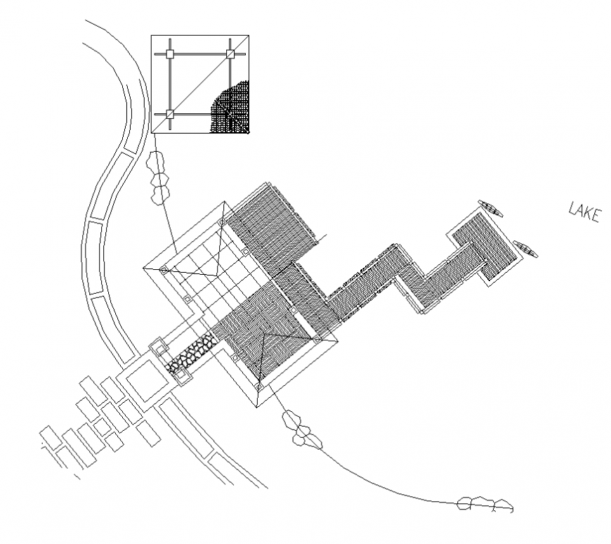 Landscape garden detail elevation and plan autocad file