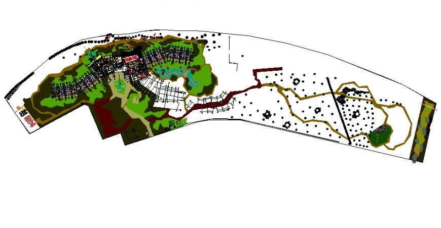 Landscape plan of hotel in auto cad