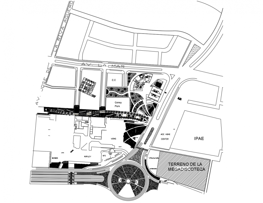 Landscaping and distribution layout plan details of culture center dwg file