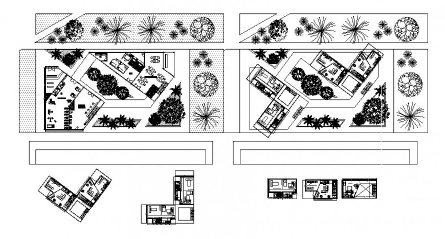 Landscaping area details with building drawing in autocad