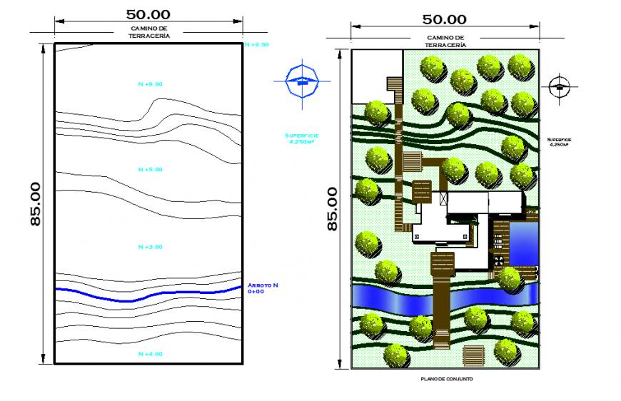 Landscaping commercial plot detail dwg file