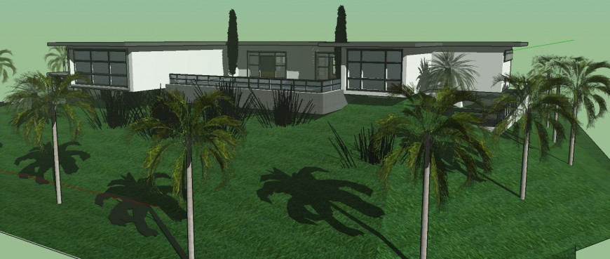 Landscaping design of farm house 3d drawing in skp file.