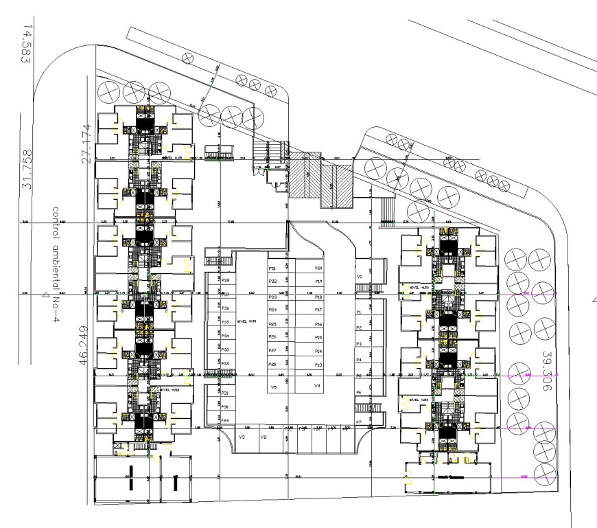 Landscaping detail in house plan autocad file