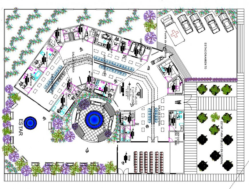 Landscaping detail in the corporate building planning layout file