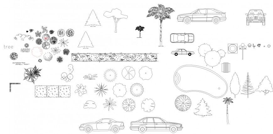 Landscaping detail in tree and plant dwg file