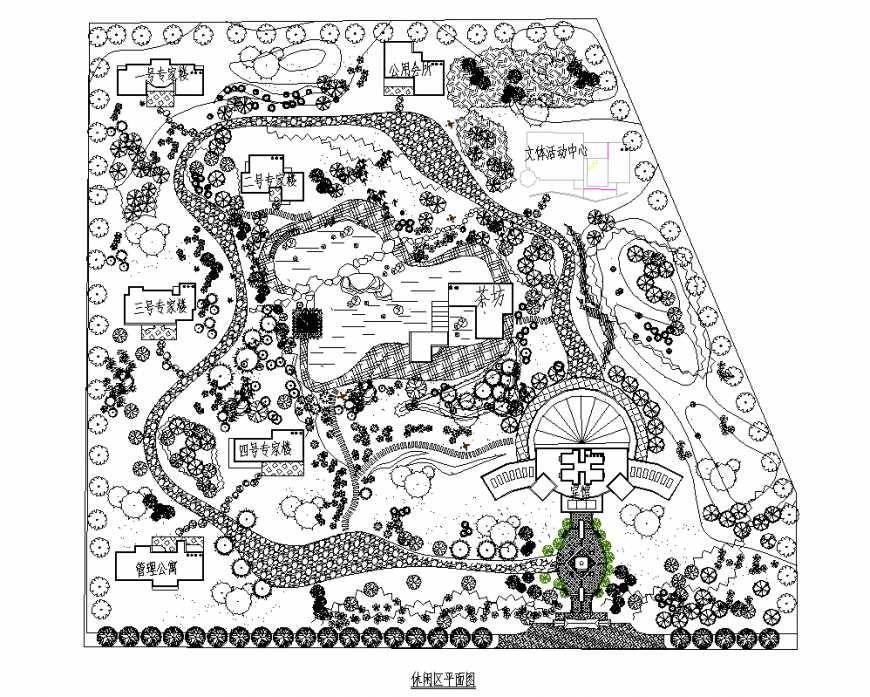 Landscaping garden detail plan 2d view dwg file
