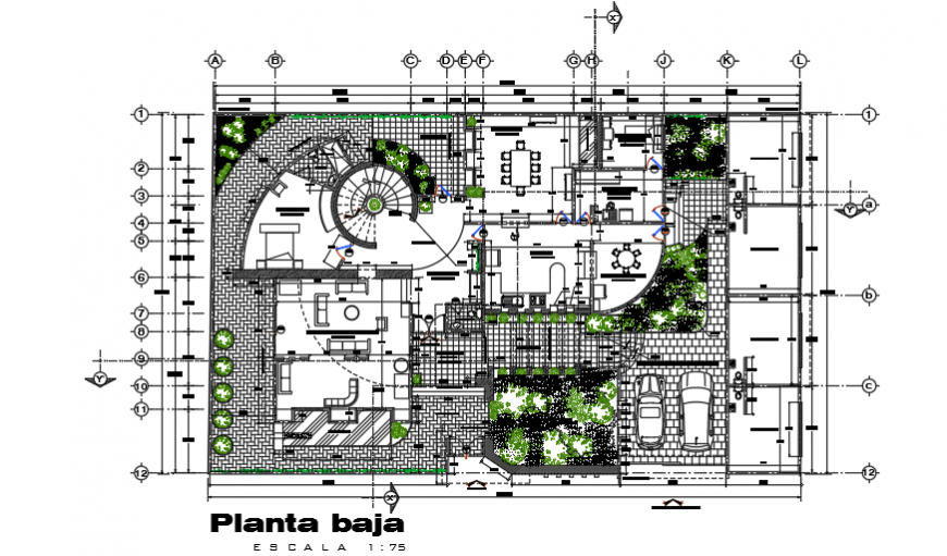 Landscaping layout design drawing of villa house design drawing