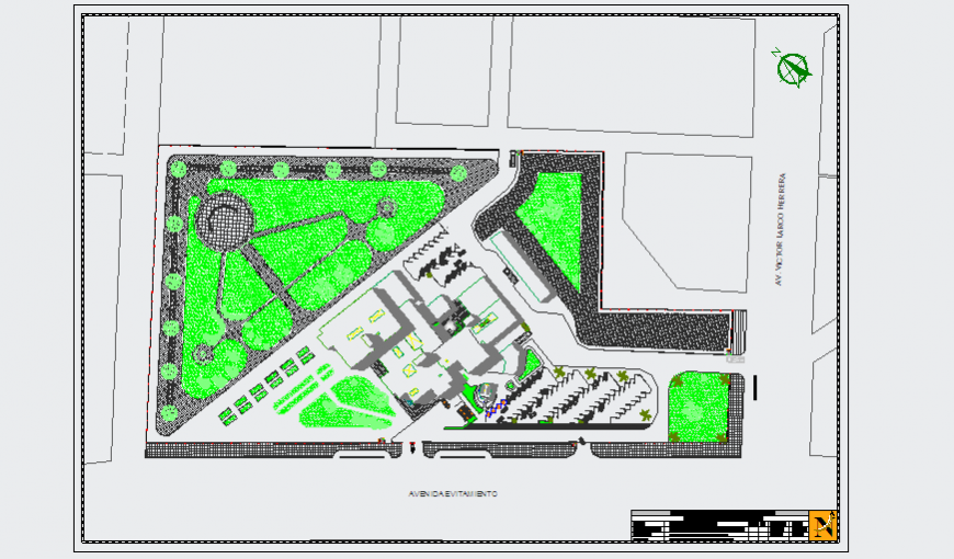 Landscaping Layout of Hospital design drawing