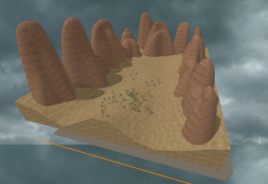 Landscaping mountain 3d model design dwg file