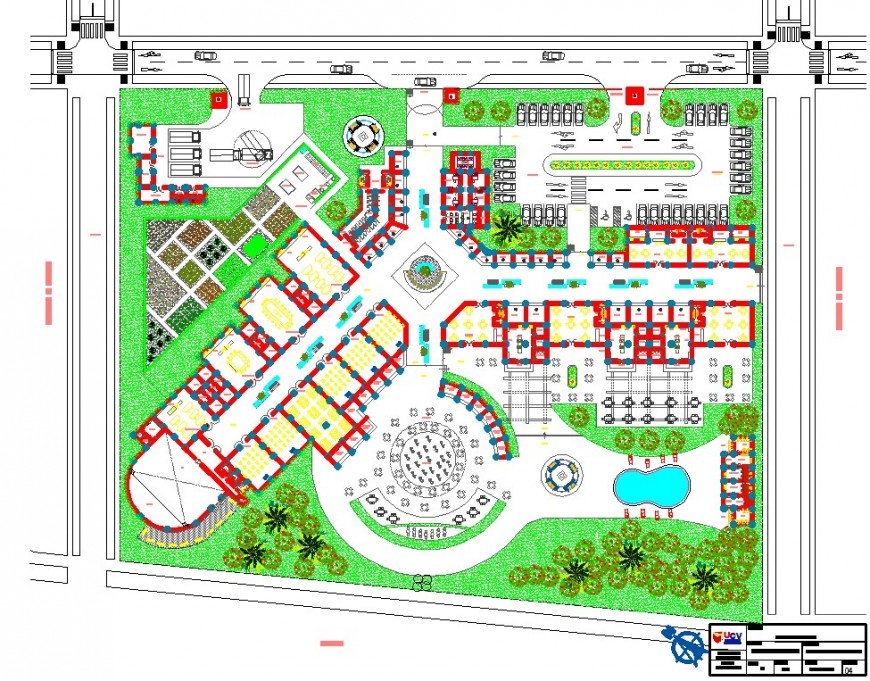 Landscaping top view plan AutoCAD file