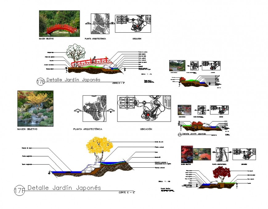 Landscaping trees and garden area detail CAD block layout file in dwg format