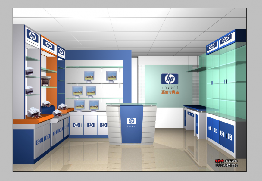 Laptop and computer store detail 3d model elevation layout PSD file