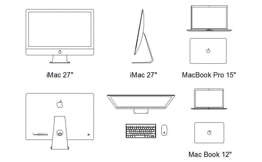 Laptop Block Design in DWG file