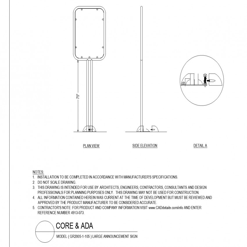 Large announcement sign layout Plan